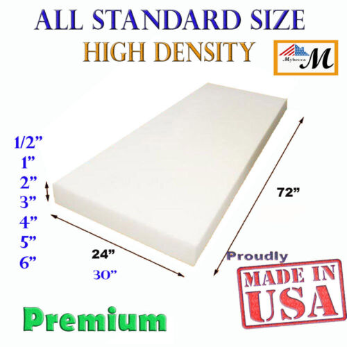 High Density Upholstery Seat Foam Cushion Replacement Per Sheet Standard Sizes  <br/> BEST QUALITY FOAM STANDARD UPHOLSTERY 24&quot; x72&quot; &amp; 30x72