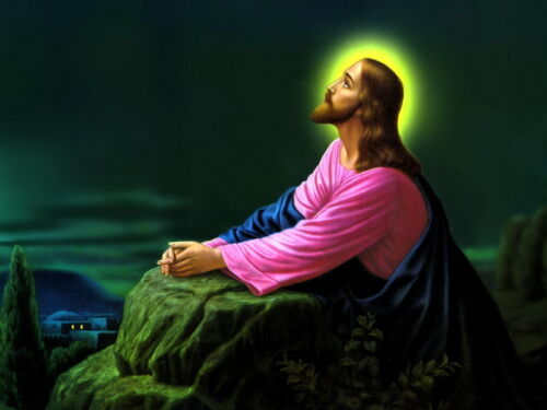 Jesus Christ Praying Inspirational Oil painting Picture Printed on canvas