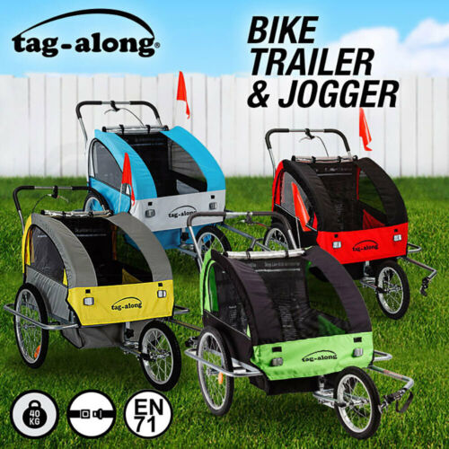NEW Tag-along Kids Bike Trailer Child Bicycle Pram Stroller Children Jogger <br/> 5% OFF may apply! Use code C5OZ in checkout T&amp;Cs apply