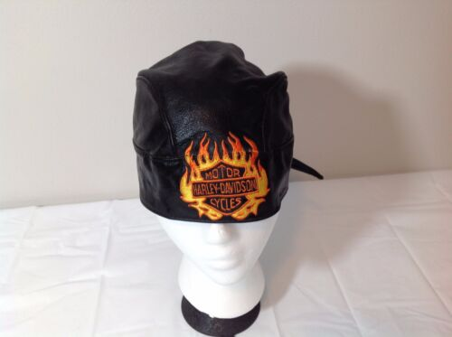Vintage Harley Davidson Motorcycles Genuine Leather Bandanna Hat Men&#039;s One Size<br/>Hats - 60220