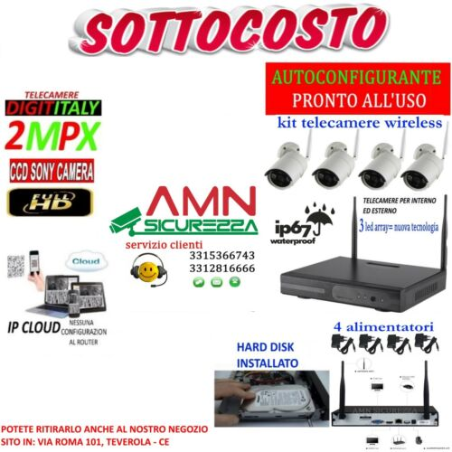 KIT WIRELESS VIDEOSORVEGLIANZA AHD 2MP DVR FULL HD 4 TELECAMERE+HARD DISK 320GB <br/> KIT CONSIGLIATO-6/7GG DI REGISTRAZIONE-MANUALE ITALIANO