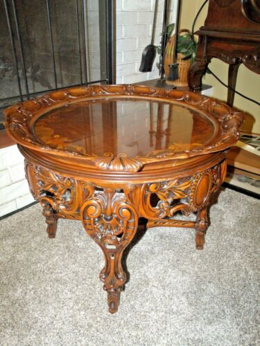 Outstanding Antique All Carved French Marquetry Inlaid Tray Coffee Table <br/>1900-1950 - 63588
