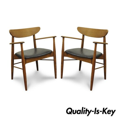 Pair of Stanley Mid Century Modern Oak Walnut Curved Back Dining Arm Chairs