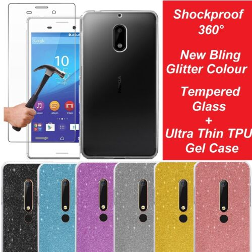 Tempered Glass Screen Protector Clear Gel Case Cover for Nokia 2 3 5 6 7 Plus 8  <br/> ✅ ShockProof ✅ 4 Glitter Colors ✅ Tempered Glass ✅1st ✅