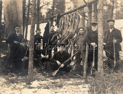 ANTIQUE HUNTING REPRO 8X10 EARLY PHOTOGRAPH DEER BEAR HUNTING GERMFASK MICHIGAN