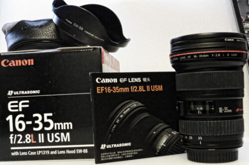 Canon EF 16-35mm f/2.8 L II USM Lens - Perfect Condition <br/> Like New with Canon UV Haze Filter, Hood, Caps and Case
