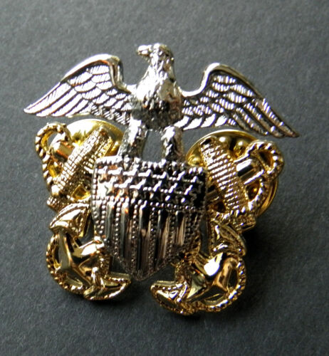 US Navy Officer Solid 3-D Cap Hat Jacket Lapel Pin 1.25 inches USNNavy - 66533