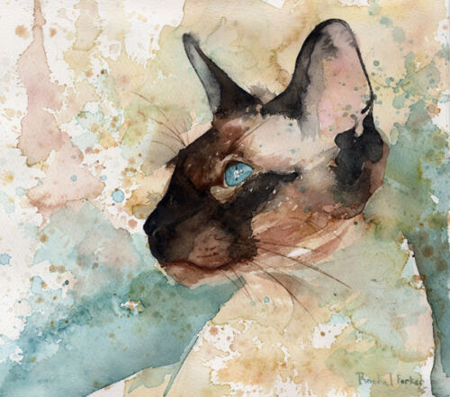 Giclee Print Siamese Cat Watercolor Painting Art side Chocolate Seal Point