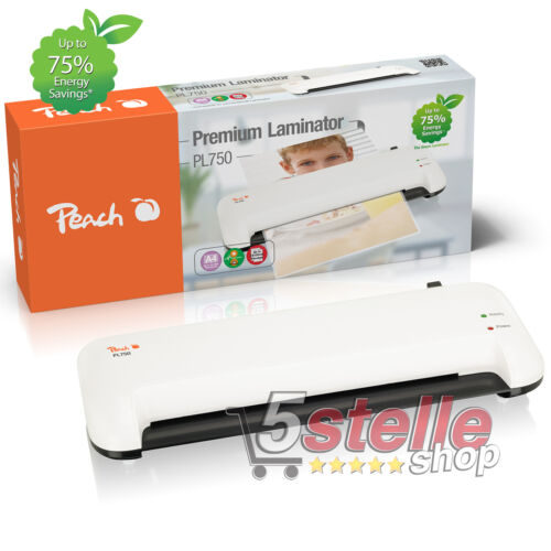 PLASTIFICATRICE A CALDO A4 Peach PL750 + KIT POUCHES FOGLI CARTA DOCUMENTI FOTO