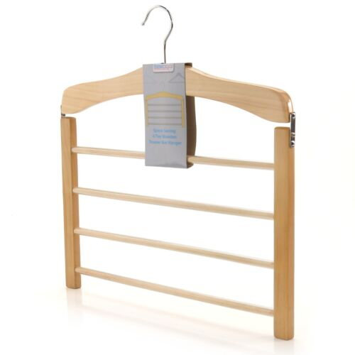 Natural Wooden Tiered Non Slip Trouser Bar Hanger Clothes Coat Hangerworld <br/> LOVELY GIFT..Trusted Quality Guarantee From Hangerworld