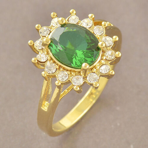 Elegant 9k Gold Filled Ring - Various Sizes Available GF - Green CZ