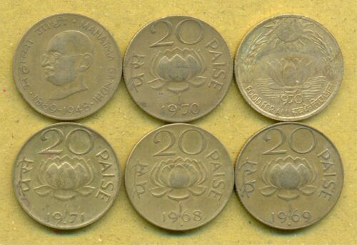 6 DIFFERENT 20 Paise Set 6 Coins,1968, 1969, 1970, 1971, Gandhi, Sun &amp; Lotus <br/> Combined Shipping Available, SEE DESCRIPTION FOR DETAIL