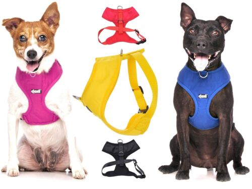 Padded Waterproof Adjustable Pet Puppy Dogs Non Pull Soft Vest Harness or Sets  <br/> BEST SELLING FRONT BACK RING MULTIPLE COLOURS SIZES