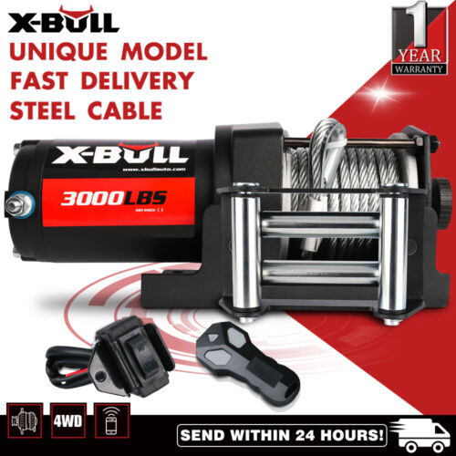 X-BULL 3000LBS/1360kg Electric Winch Steel Cable  ATV 4WD 2 REMOTES 12V <br/> USE &#039;P5OFF&#039; FOR EXTRA 5%!