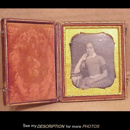Antique 6th Plate Daguerreotype Young Girl w/ Book