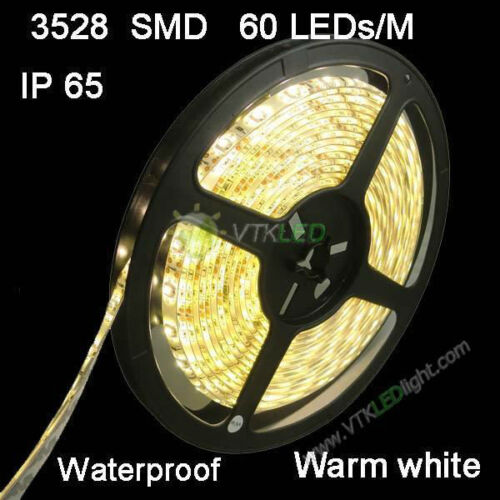 12V 5M 3528 SMD 300 LED Strips Strip Light Waterproof Warm White with connector