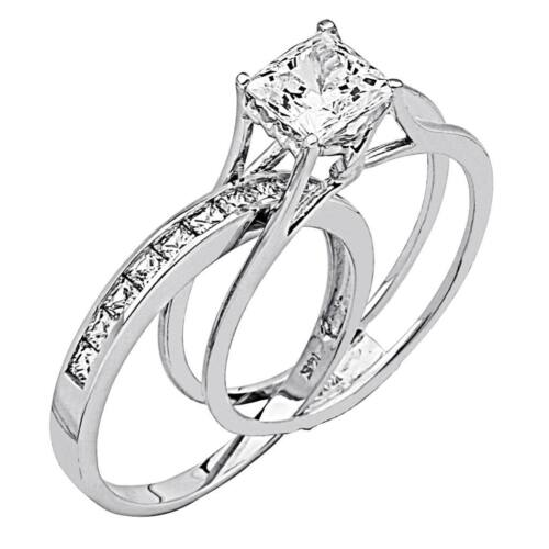 2 Ct Princess Cut 2 Piece Engagement Wedding Ring Band Set Solid 14K White Gold <br/> EXTRA 10% OFF! FREE &amp; FAST SHIPPING! LIMITED QUANTITY!