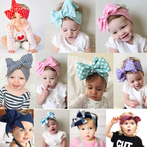 Baby Toddler Kids Girl Large Bow Headband Hair Band Headwear Head Wrap Cotton