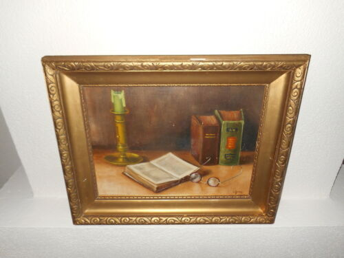 Old oil painting,{ Stillife with a book, glasses, and a candle, is signed }. <br/>Paintings - 551