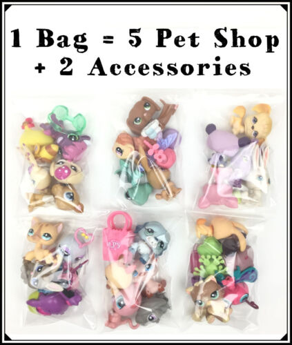 Littlest Pet Shop Lot 5 Random LPS + 2 Accessories / 1 Grab Bag Petshop (set)