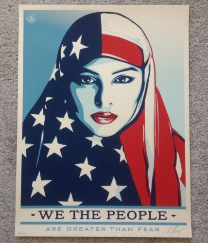 Shepard Fairey Obey Greater Than Fear Limited 450 18x24 Signed Art Print Trump
