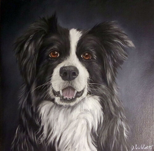Original Dog Portrait Canvas Art Oil Painting signed by the Artist