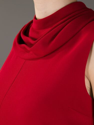 Saint Laurent Red Cowl Neck Sleeveless Dress SOLD OUT F 40 UK 10 US 6