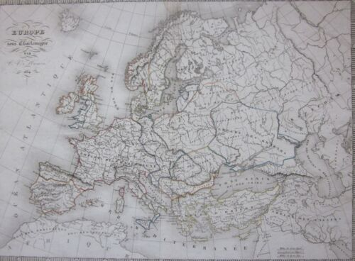 1835ca EUROPE CHARLEMAGNE original map Charles V. Monin Europa di Carlo Magno