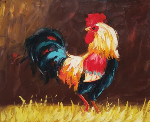 Rooster,  Item No.- 3 , 20x24, 100% Hand painted Oil Painting on Canvas