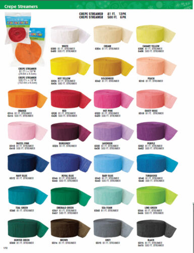 3 Crepe Paper Streamer  Crepe Paper 81FT Birthday 26 Colours Decoration Party  <br/> 3 for the price of 2 only &pound;1.99