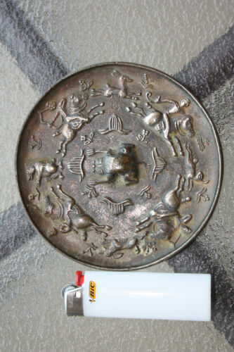 Chinese Bronze mirror, - 4 hunters, chasing 4 animals, D= 12 cm, Tang dynasty<br/>Mirrors - 20089