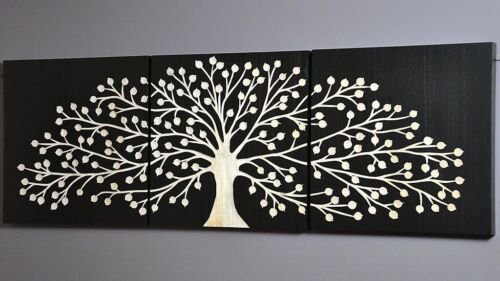 NATURES GIFT-BLACK CARVED TREE-TIMBER WALL ART-DECO WOOD 3 PANEL CARVING picture