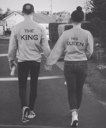 The King And His Queen Sweatshirt Jumper Valentines Day Couple Matching Hubby