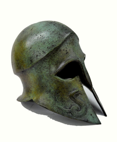 Helmet Ancient Greek Snake carved solid bronze real size great helmet artifact<br/>Reproduction Antiques - 22608