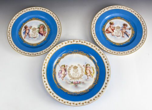 Sevres Chateau Des Tuileries Louis Philippe Cherubs Hand Painted Cabinet Plates<br/>Plates & Chargers - 63531