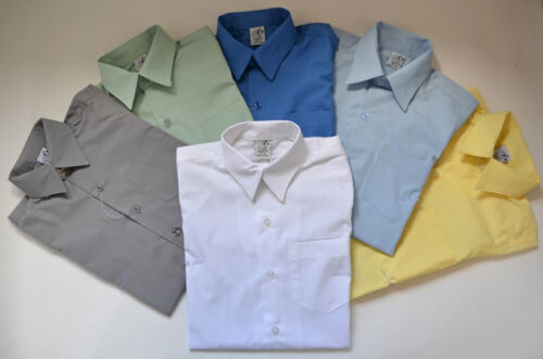 NEW School unisex Short Sleeve Formal Shirt Many Colours Sz 5,6,8,10,12,14,16