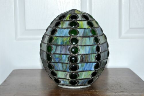 Vintage Leaded Glass Green Beehive Shade<br/>Lamps - 63547