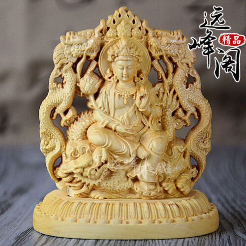 Old Collectibles Decorated Handwork Boxwood Carving Dragon Kuan-yin Statue<br/>Other Antique Chinese Statues - 37931