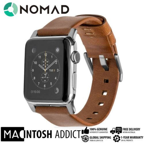 NOMAD Horween Vegetable-Tanned Leather Strap Band For Apple Watch 42mm SILVER