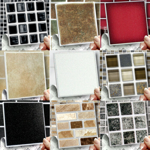 Stick On Self Adhesive Wall Tile Stickers, Transfers For Kitchens &amp; Bathrooms <br/> 1mm Thick Solid Tiles No Cementing, Grouting 60 Styles