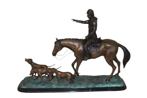 "Hunter with 3 dogs (Bronze Sculpture) -  Size: 26""L x 8""W x 19""H."