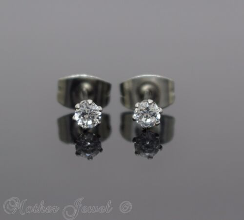 3MM ROUND SIMULATED DIAMOND SILVER SURGICAL STEEL STUD MENS WOMENS EARRINGS