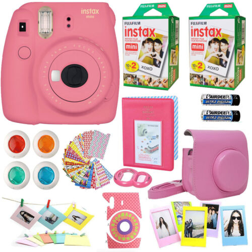 Fujifilm Instax Mini 9 Instant Camera Flamingo Pink +40 Film All in 1 Acc Bundle <br/> 11 in 1 From Film To Frames everything you need !!!