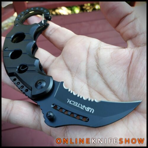 GRAY KARAMBIT SPRING ASSISTED POCKET KNIFE Tactical Open Folding Claw Blade EDC