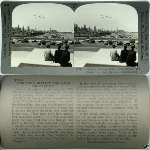 Keystone Stereoview BIPLANES & CARS, Chicago, ILLINOIS From 600/1200 Card Set A