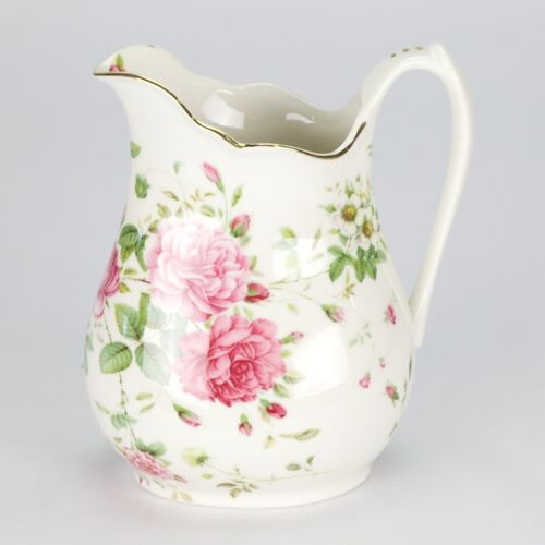 NEW Vintage Style porcelain water  Jug Pitcher Flower Rose Shabby Chic white