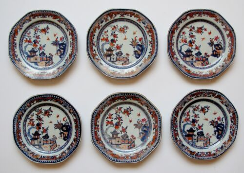 6 Chinese porcelain Qing long Ch&#039; ien Lung Imari famille rose 8 sided dishes...<br/>Plates - 37928