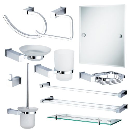 Chrome &amp; Glass Wall Mounted Rust Proof &quot;Trinity&quot; Bathroom Accessory Collection <br/> Showerdrape | Fast, Free Delivery | UK Premium Stockist