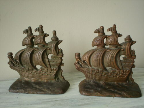 Antique HUBLEY Cast Iron Sailing Ships Bookends #381 Nice Condition<br/>Metalware - 1211