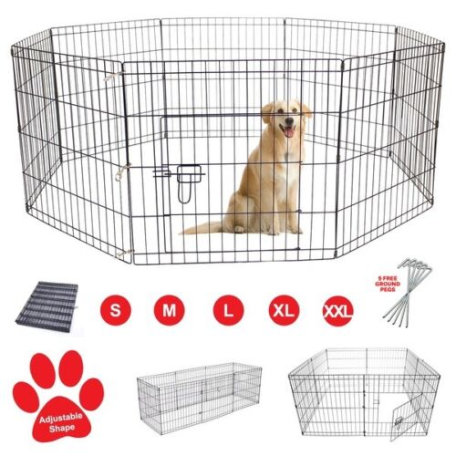 Pet Dog Pen Puppy Rabbit Foldable Playpen Indoor/Outdoor Enclosure Run Cage <br/> 5 Sizes | 8 Panel | UK Seller &amp; FREE Fast Delivery